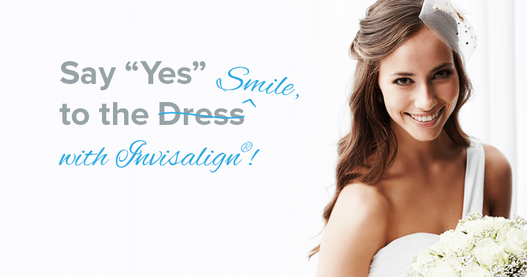 Woman in wedding dress smiling after Invisalign treatment