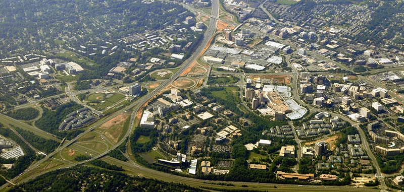 An aerial photograph of Northern Virginia to indicate the general location of this dentist in Tyson's Corner