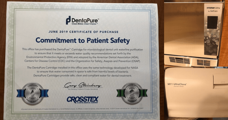 Collage of our DentaPure certificate, Hydrim equipment, and sterilization equipment